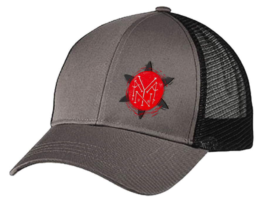 Red Hat Logo Trucker Hat Grey With Red Logo